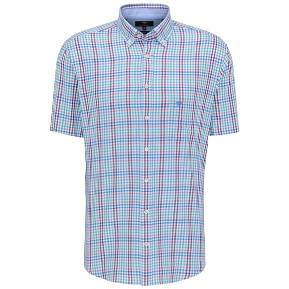 Fynch Hatton Mens Purple Combi Check Short Sleeve Shirt