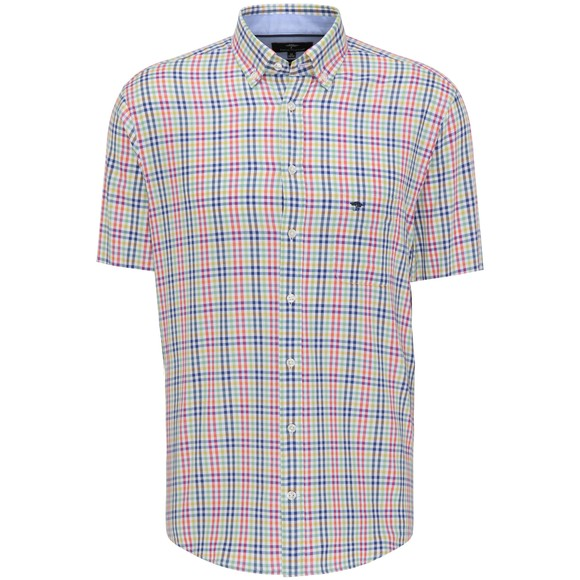 Fynch Hatton Mens Green Combi Check Short Sleeve Shirt