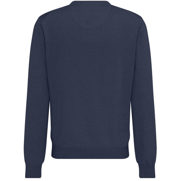 Fynch Hatton Mens Blue V Neck Superfine Cotton Jumper
