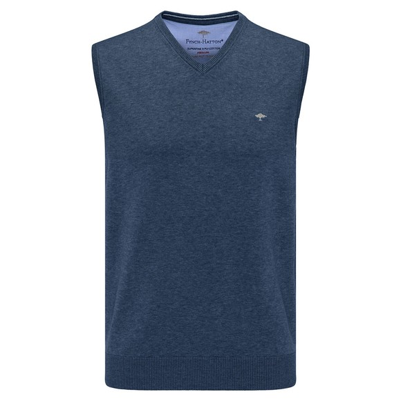Fynch Hatton Mens Blue Superfine Cotton Slipover