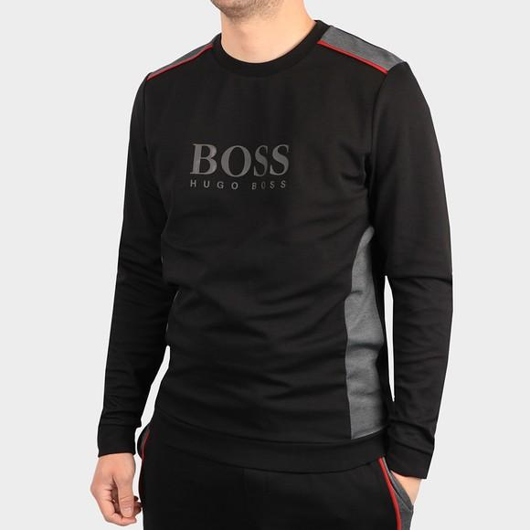 BOSS Bodywear Mens Black Panel Detail Crew Sweatshirt