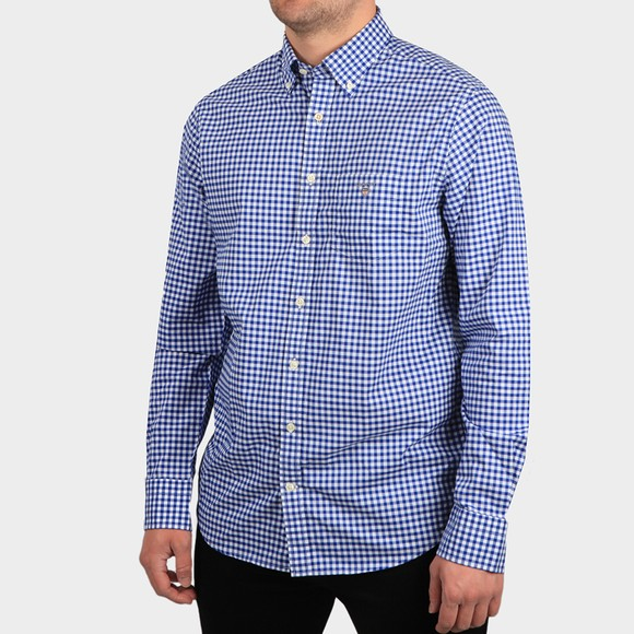 Gant Mens Blue Broadcloth Gingham Shirt