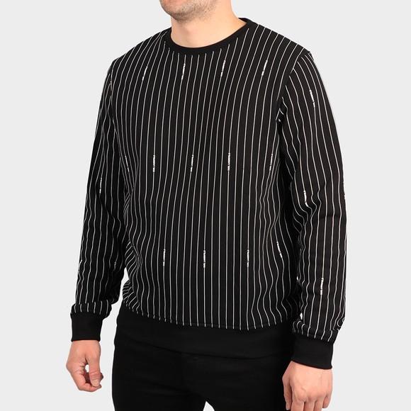 Karl Lagerfeld Mens Black Pinstripe Crew Sweatshirt