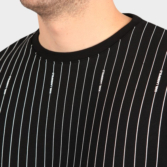 Karl Lagerfeld Mens Black Pinstripe Crew Sweatshirt main image