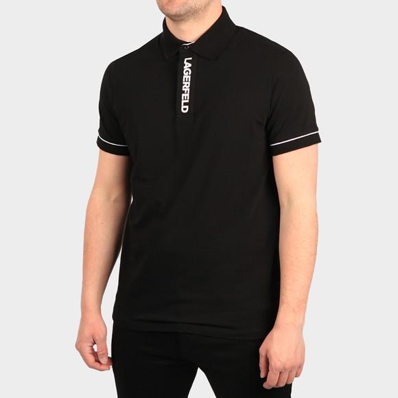 Karl Lagerfeld Mens Black Logo Placket Polo Shirt
