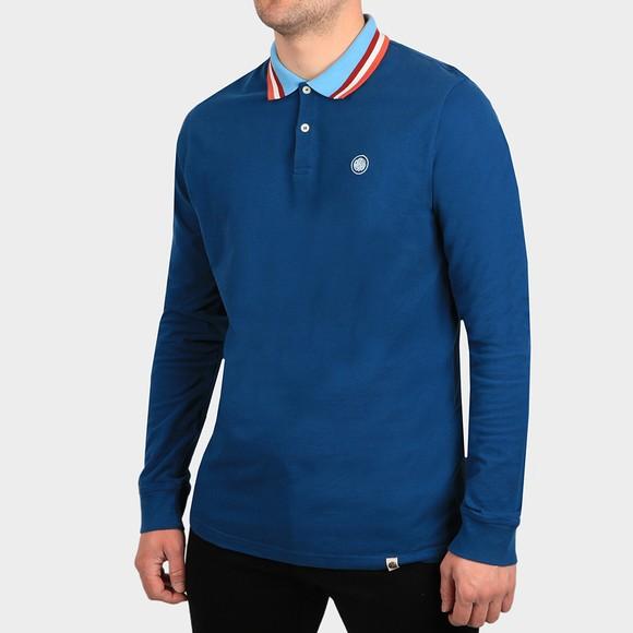 Pretty Green Mens Blue Long Sleeve Polo Shirt
