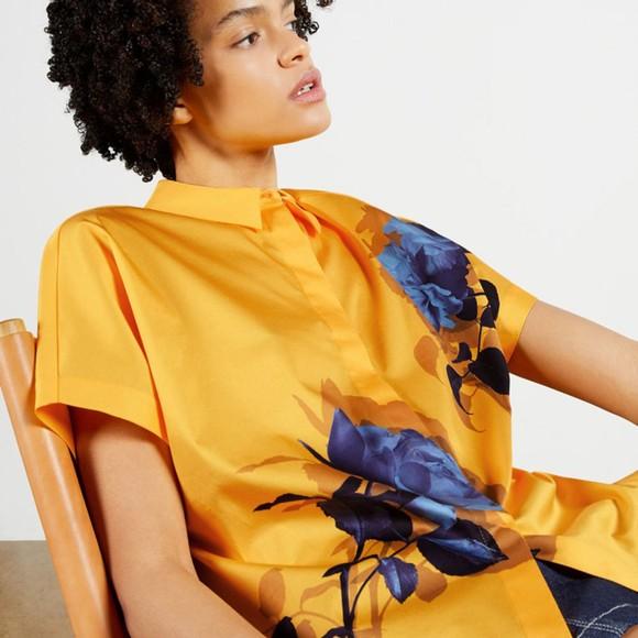 Ted Baker Womens Yellow Aidenn Modernity Oversize Short Sleeve Shirt main image