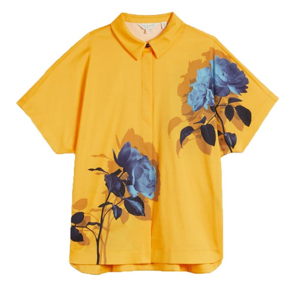Ted Baker Womens Yellow Aidenn Modernity Oversize Short Sleeve Shirt