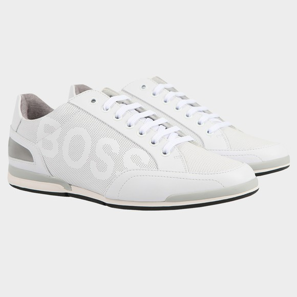 BOSS Mens White Athleisure Saturn Low Leather Large Logo Trainer