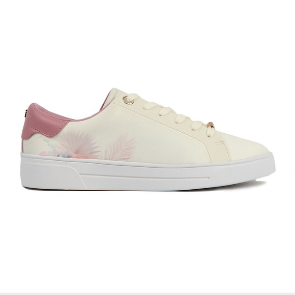 Ted Baker Womens White Delylas Serendipity Satin Trainer
