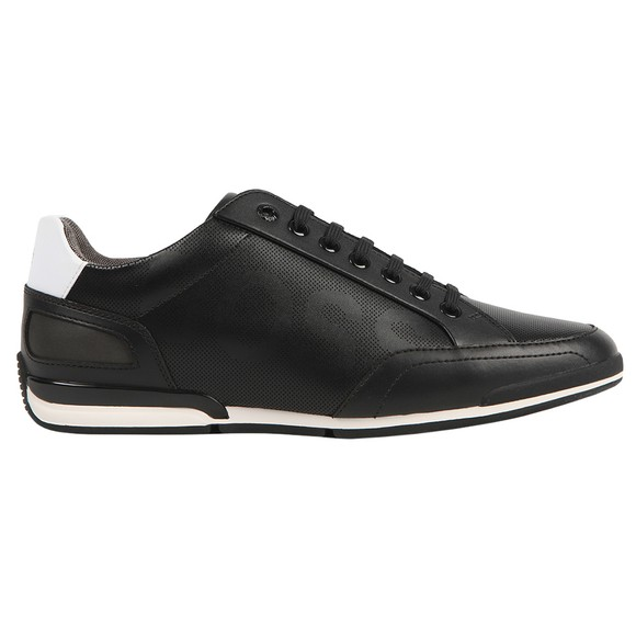 BOSS Mens Black Athleisure Saturn Low Leather Large Logo Trainer