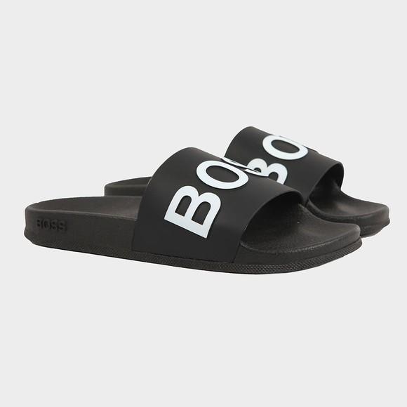 BOSS Mens Black Bay Slides