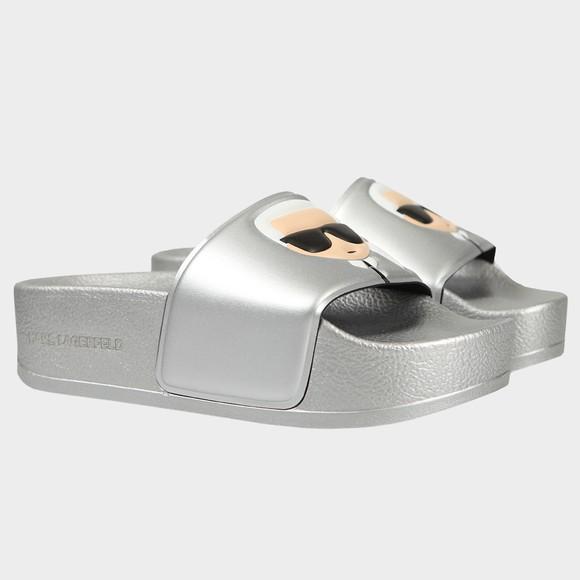 Karl Lagerfeld Womens Silver Mondo Maxi Platform Slide