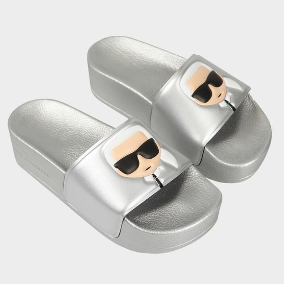 Karl Lagerfeld Womens Silver Mondo Maxi Platform Slide main image