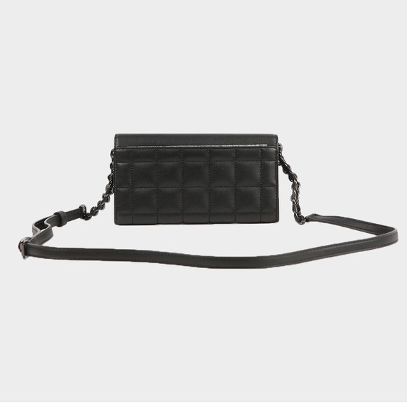 Michael Kors Womens Black Carmen Mid Tri Fold Shoulder Bag main image