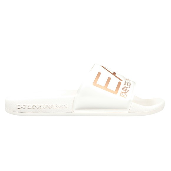 EA7 Emporio Armani Womens White Logo Slides
