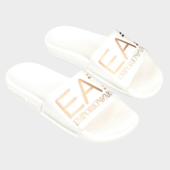 EA7 Emporio Armani Womens White Logo Slides main image