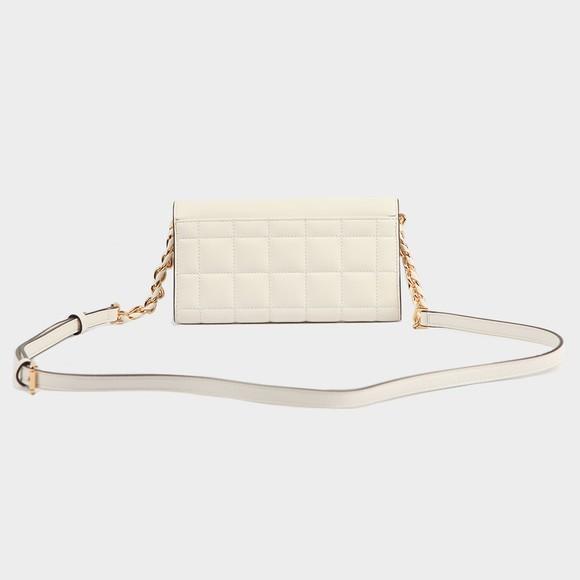 Michael Kors Womens White Carmen Mid Tri Fold Shoulder Bag