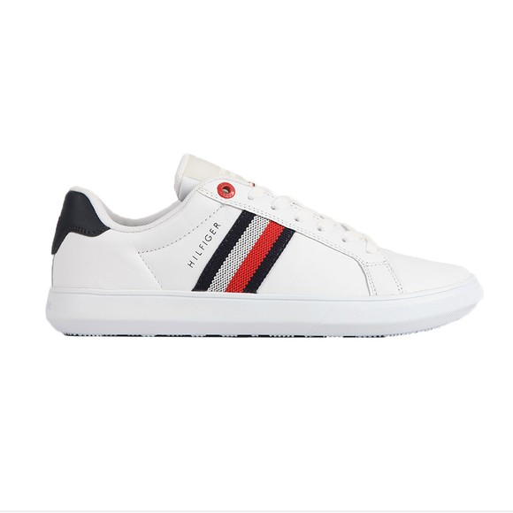 Tommy Hilfiger Mens White Essential Leather Trainer