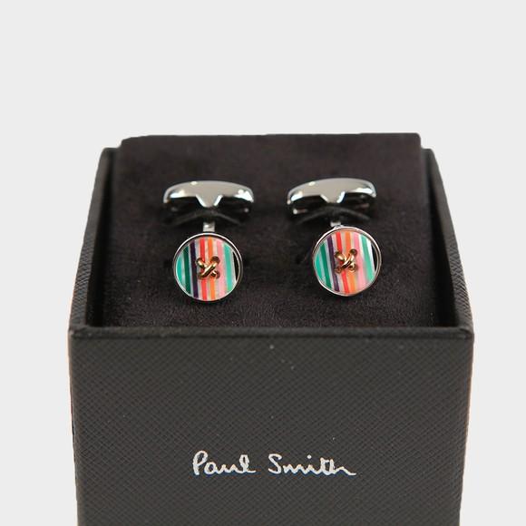 Paul Smith Mens Multicoloured Striped Button Cuff Links