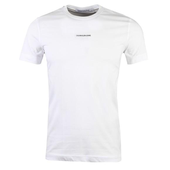 Calvin Klein Jeans Mens White Micro Branding Essential T-Shirt