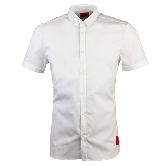 HUGO Mens White Empson Square Badge Short Sleeve Shirt