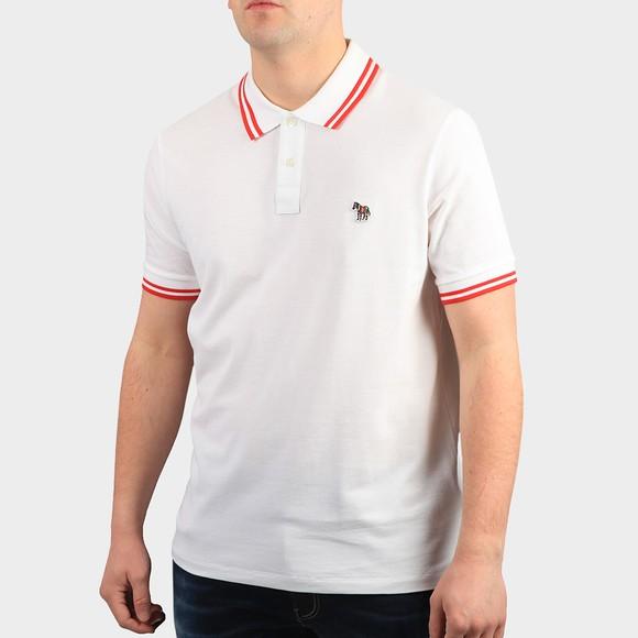PS Paul Smith Mens White Regular Tipped Zebra Polo Shirt