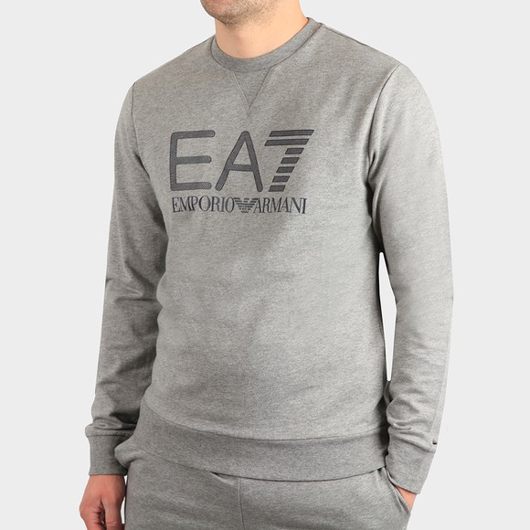 EA7 Emporio Armani Mens Grey Large Logo Hex Sweatshirt