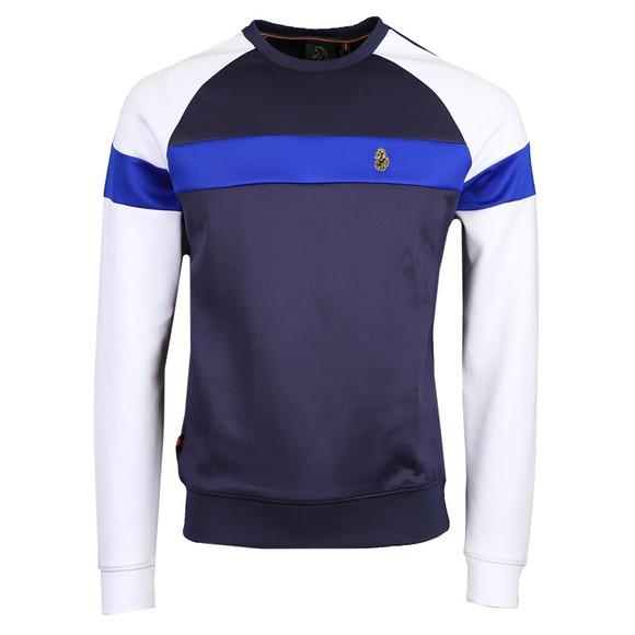 Luke Sport Mens Blue Adam 3 Tape Detail Crew Sweatshirt