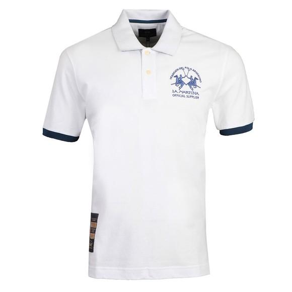 La Martina Mens White Large Logo Polo Shirt