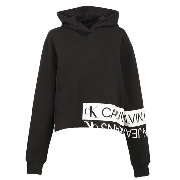Calvin Klein Jeans Womens Black Mirrored Logo Hoody