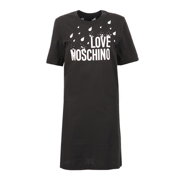 Love Moschino Womens Black Splash Logo T Shirt Dress