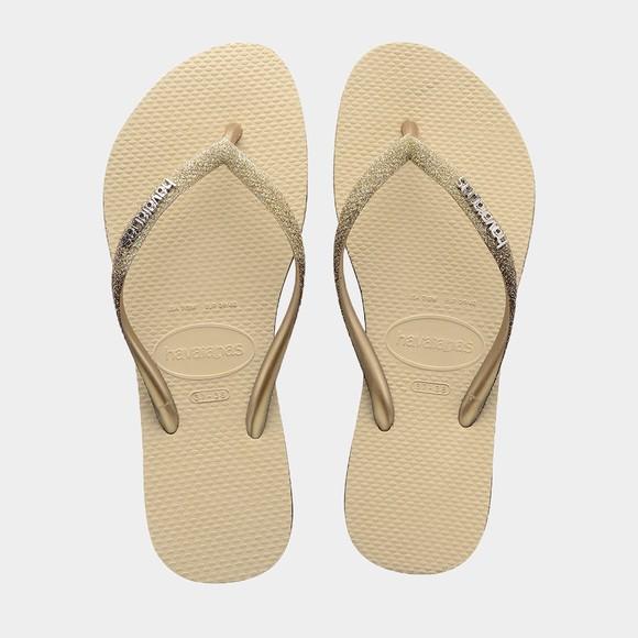 Havaianas Womens Beige Slim Sparkle Flip Flop main image