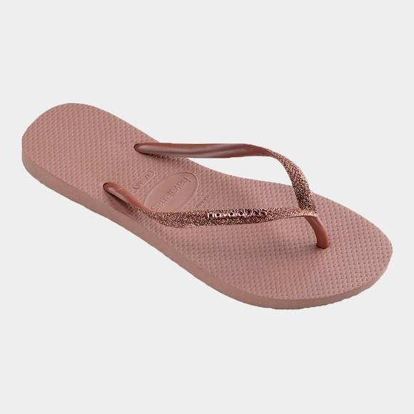 Havaianas Womens Pink Slim Glitter Flip Flop