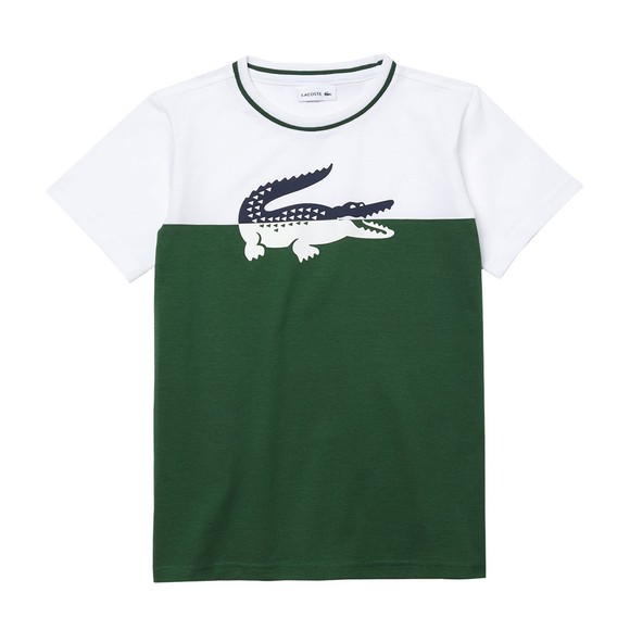 Lacoste Boys White TJ2303 Split Logo T Shirt