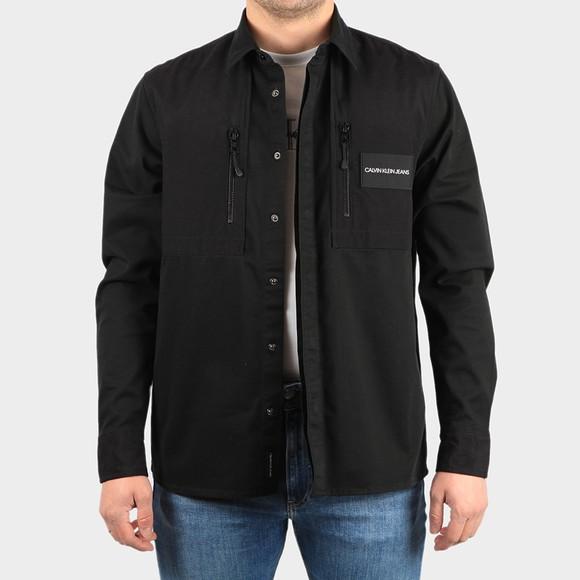 Calvin Klein Jeans Mens Black Mixed Media Overshirt