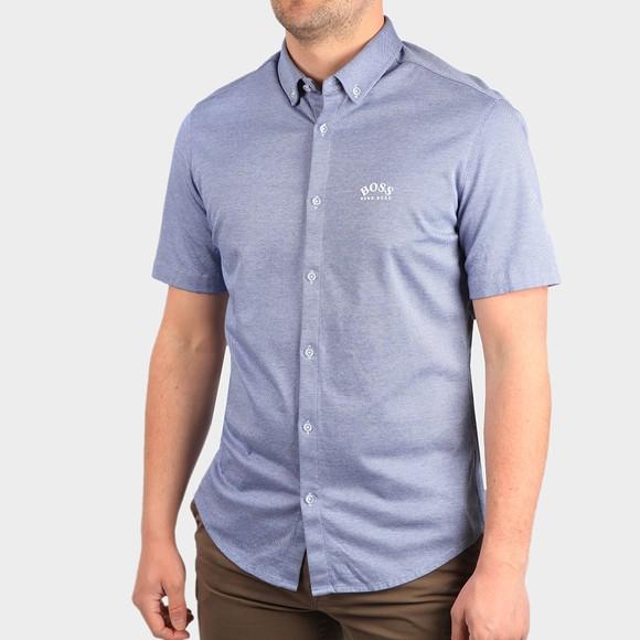 BOSS Mens Blue Athleisure Biadia Short Sleeve Shirt