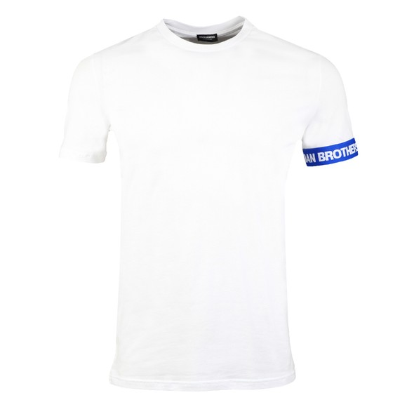 Dsquared2 Mens White Brothers Tape Sleeve T Shirt