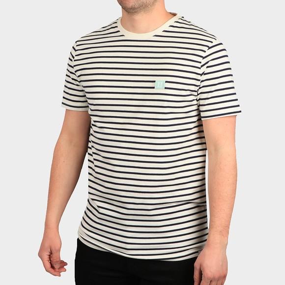 Les Deux Mens White Sailor Stripe Patch T-Shirt