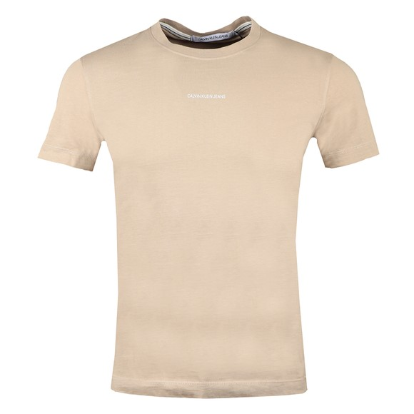 Calvin Klein Jeans Mens Beige Micro Branding Essential T-Shirt