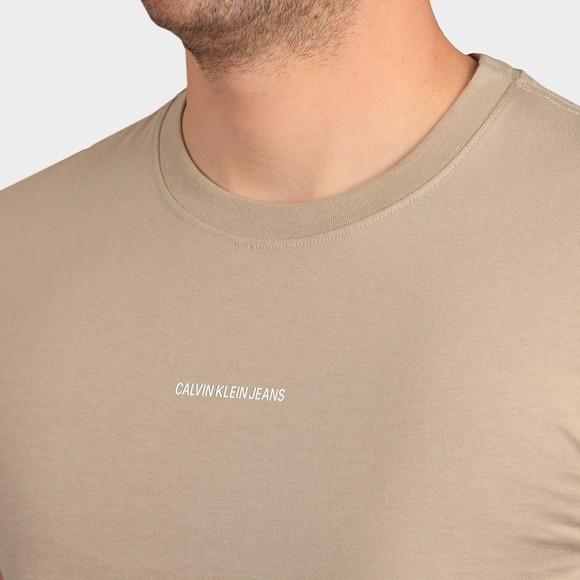 Calvin Klein Jeans Mens Beige Micro Branding Essential T-Shirt main image