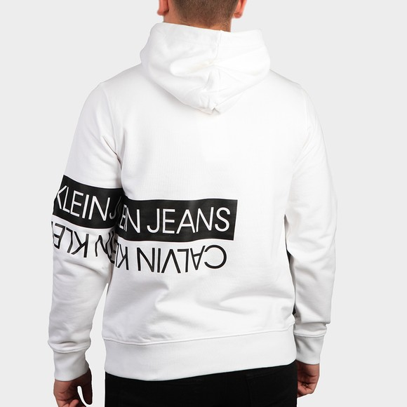 Calvin Klein Jeans Mens White Mirrored Logo Hoody main image