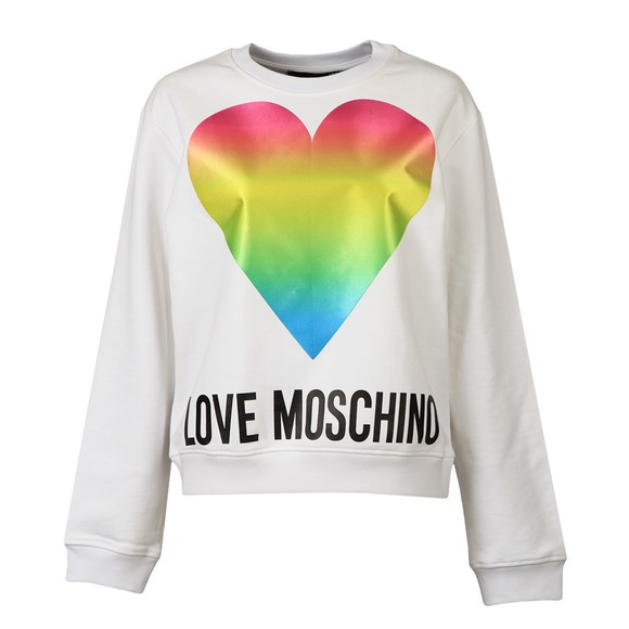 Love Moschino Womens White Rainbow Heart Sweatshirt