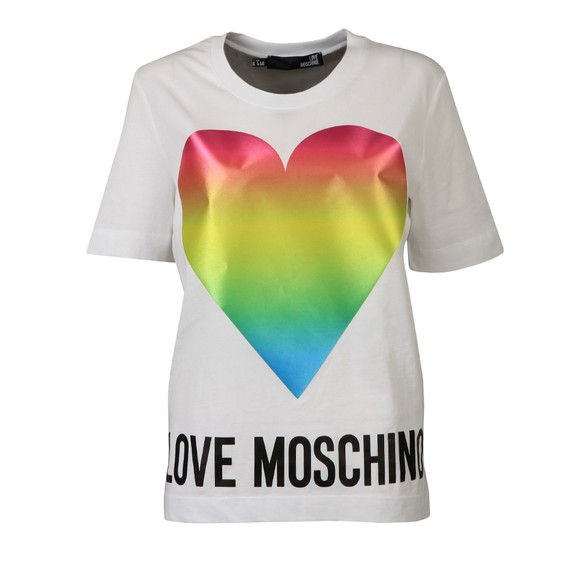 Love Moschino Womens White Rainbow Heart T Shirt