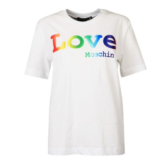 Love Moschino Womens White Rainbow Love T Shirt