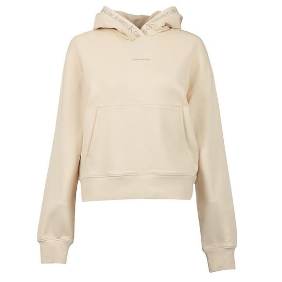 Calvin Klein Jeans Womens Beige Logo Trim Hoodie