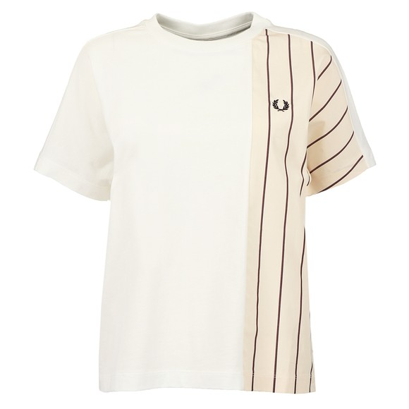 Fred Perry Womens Off-White Woven Panel T Shirt