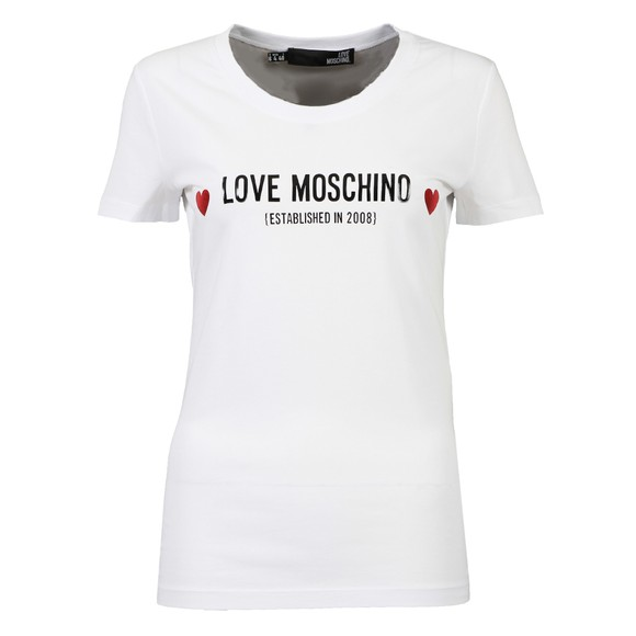 Love Moschino Womens White Established Logo T Shirt