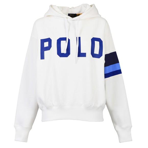 Polo Ralph Lauren Womens White Relaxed Stripe Sleeve Hoody