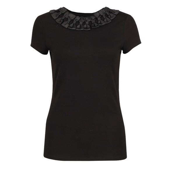 Ted Baker Womens Black Charre Bow Neck Trim Detail T-Shirt